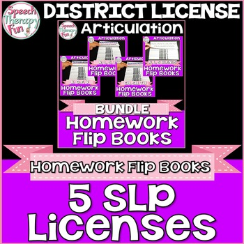 DISTRICT LICENSE FOR 5 SLPs: Articulation Homework Flip Bo