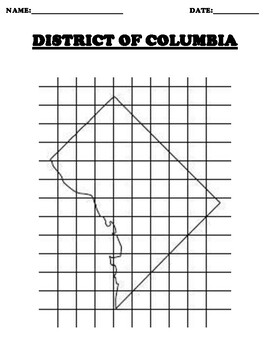 DISTRICT OF COLUMBIA Coordinate Grid Map Blank
