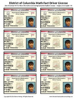 DISTRICT OF COLUMBIA Math Driver License-Math Fact Incentive Progm-TEMPLATE-FREE