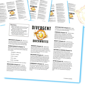 DIVERGENT Journal - Quickwrite Writing Prompts - PowerPoint