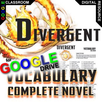 DIVERGENT Vocabulary List and Quiz Assessment (Created for Digital)