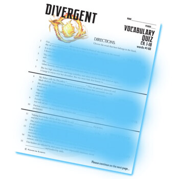 DIVERGENT Vocabulary List and Quiz (chap 1-18)
