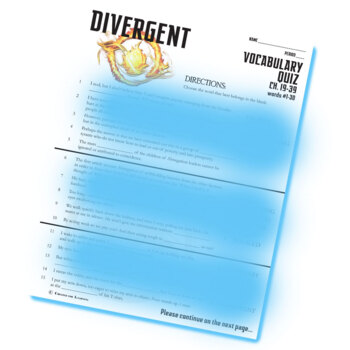 DIVERGENT Vocabulary List and Quiz (chap 19-39)