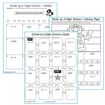 DIVIDE BY 1-DIGIT & 2-DIGIT DIVISORS  BUNDLE - Graphic Organizers & Puzzles