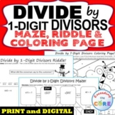 DIVIDE BY 1-DIGIT DIVISORS Maze, Riddle, Color by Number (