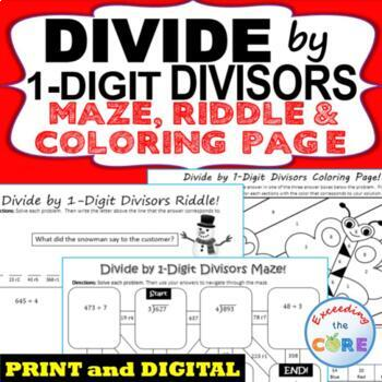 DIVIDE BY 1-DIGIT DIVISORS Maze, Riddle, Coloring Page (Fu