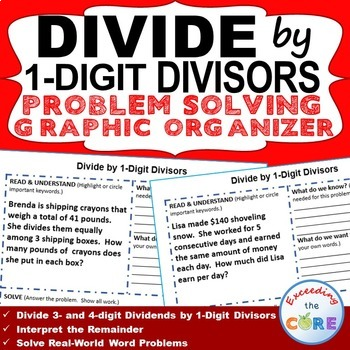 DIVIDE BY 1-DIGIT DIVISORS Word Problems with Graphic Organizers