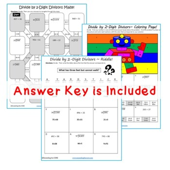 DIVIDE BY 2-DIGIT DIVISORS Maze, Riddle, Color by Number (Fun MATH Activities)