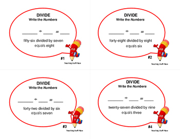 Division Facts | Words for Problems | Vocabulary Task Cards | Gr 3-4 MATH