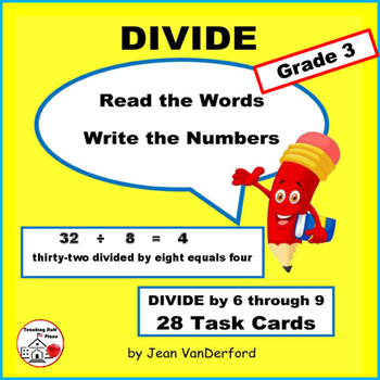 Division Facts | Words for Problems | Vocabulary Task Card