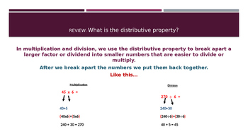 DIVIDE USING THE DISTRIBUTIVE PROPERTY