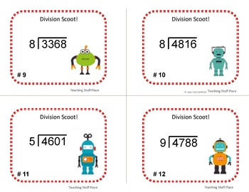 DIVIDE to 4-digits by 1-digit   Math Core   DIVISION SCOOT   Task Cards   Gr 4