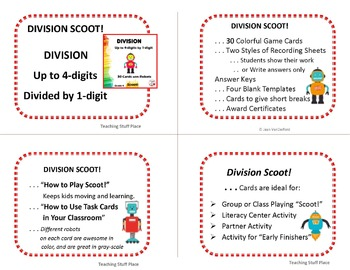 DIVIDE to 4-digits by 1-digit | Math Core | DIVISION SCOOT | Task Cards | Gr 4