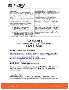 DIVIDING 2 WAYS: EQUAL SHARING AND EQUAL GROUPING