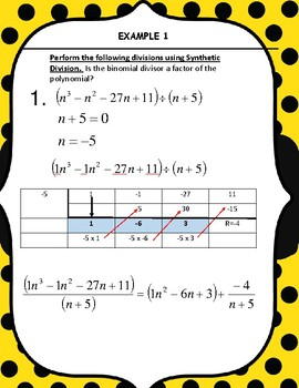 SYNTHETIC DIVISION AND POLYNOMIALS