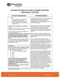 DIVIDING DECIMALS BY WHOLE NUMBER DIVISORS USING BASE 10 BLOCKS