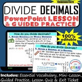 DIVIDE DECIMALS PowerPoint Lesson AND Guided Practice | Di