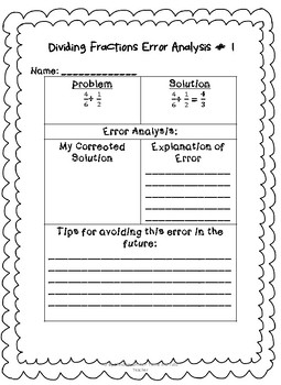 DIVIDING FRACTIONS ERROR ANALYSIS- CHALLANGING and ENGAGING-  GREAT FOR A CENTER