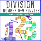 DIVISION 0-9 Puzzles - Great for Bulletin Board Numbers!