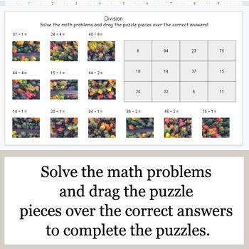 DIVISION 2-Digit by 1-Digit - Google Slides - Autumn Puzzles