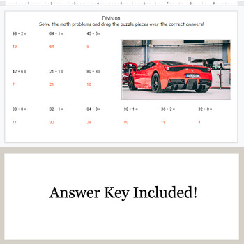 DIVISION 2-Digit by 1-Digit - Google Slides - Car Puzzles