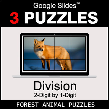 DIVISION 2-Digit by 1-Digit - Google Slides - Forest Animal Puzzles