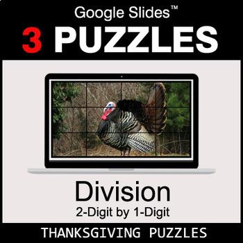 DIVISION 2-Digit by 1-Digit - Google Slides - Thanksgiving Puzzles