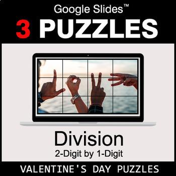 DIVISION 2-Digit by 1-Digit - Google Slides - Valentine's Puzzles