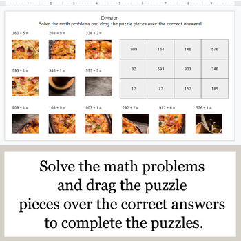 DIVISION 3-Digit by 1-Digit - Google Slides - Food Puzzles