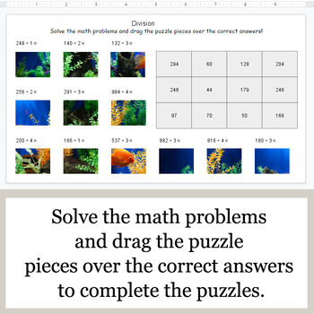 DIVISION 3-Digit by 1-Digit - Google Slides - Ocean Puzzles