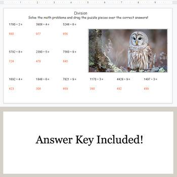 DIVISION 4-Digit by 1-Digit - Google Slides - Birds Puzzles