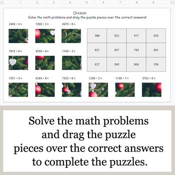 DIVISION 4-Digit by 1-Digit - Google Slides - Christmas Puzzles
