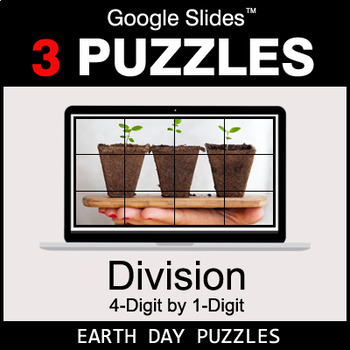 DIVISION 4-Digit by 1-Digit - Google Slides - Earth Day Puzzles