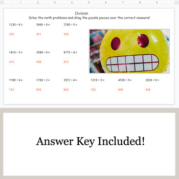 DIVISION 4-Digit by 1-Digit - Google Slides - Emoji Puzzles
