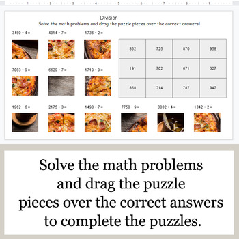 DIVISION 4-Digit by 1-Digit - Google Slides - Food Puzzles