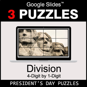 DIVISION 4-Digit by 1-Digit - Google Slides - President's Day Puzzles
