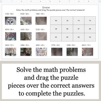 DIVISION 4-Digit by 2-Digit - Google Slides - Birds Puzzles