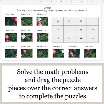 DIVISION 4-Digit by 2-Digit - Google Slides - Christmas Puzzles