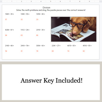 DIVISION 4-Digit by 2-Digit - Google Slides - Dog Puzzles
