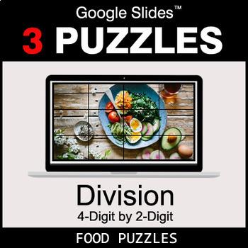 DIVISION 4-Digit by 2-Digit - Google Slides - Food Puzzles