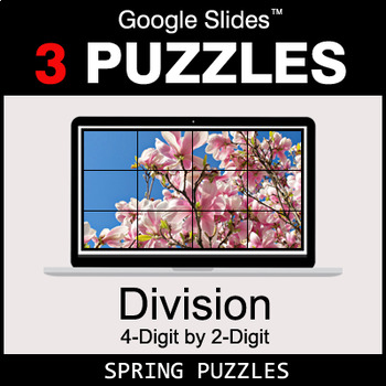 DIVISION 4-Digit by 2-Digit - Google Slides - Spring Puzzles