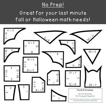 DIVISION Bat Puzzles | Halloween Math Center Games | FUN Bat Activity Puzzle