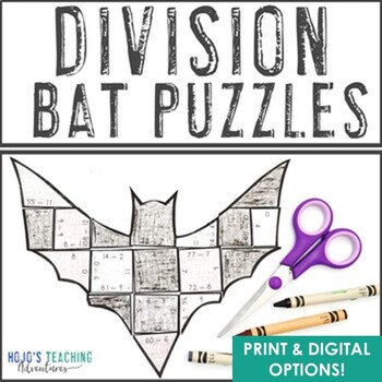 DIVISION Bat Math Puzzles, Games, or Activities | Halloween Math Center Games
