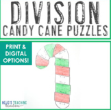 DIVISION Candy Cane | Christmas Math Games or Coloring Sheet Alternatives