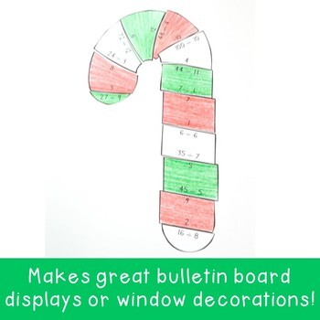 DIVISION Candy Cane Math Worksheet Alternative | Christmas Activities or Game