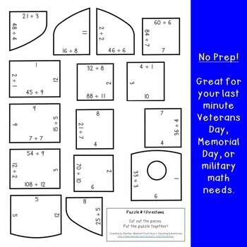 DIVISION Dog Tag Puzzles: FUN Veterans Day Activities | Veterans Day Math Center
