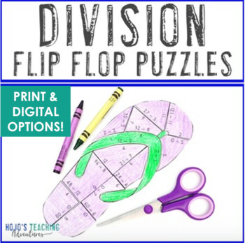 DIVISION Back to School Math Activities: FUN Flip Flop Math Station Games