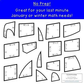 DIVISION Igloo Craft Puzzles | Winter Math Activities, Games, or Centers