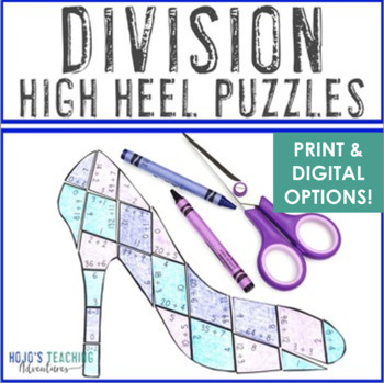 DIVISION High Heel Puzzles | Mothers Day Math Centers, Games, or Activities