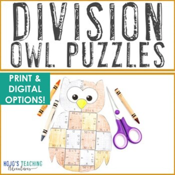 DIVISION Owl Math Activities | Fall Games, Centers, or Worksheet Alternatives